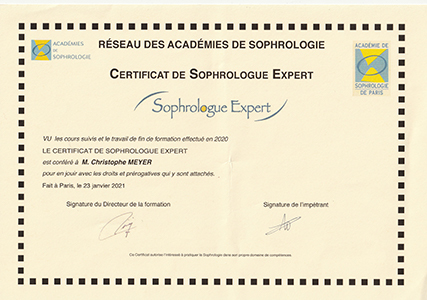 Certificat Expert Sophrologue Christophe Meyer